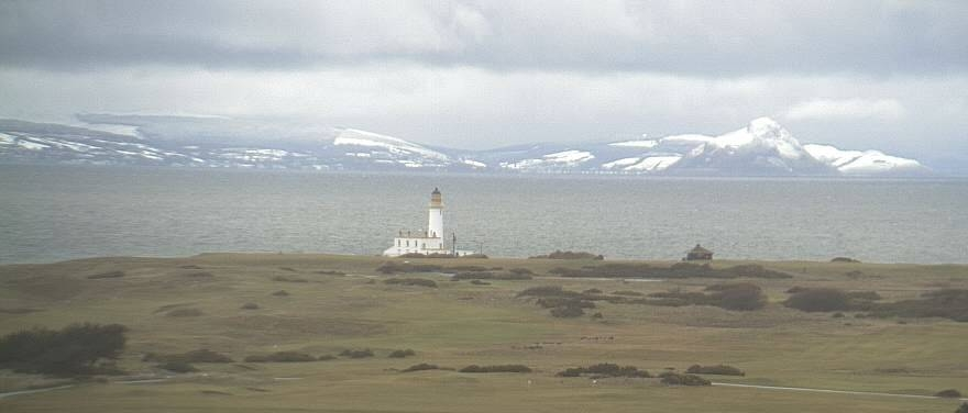 The Turnberry Lighthouse and the Isle of Arran, affectionately known as 'Scotland in miniature'